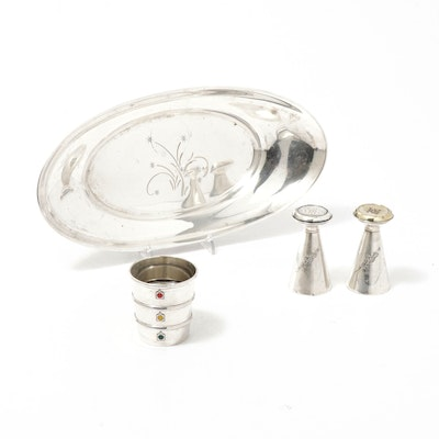 """Gorham Sterling Silver """"Celeste"""" Bread Tray and Other Tableware Accessories"""