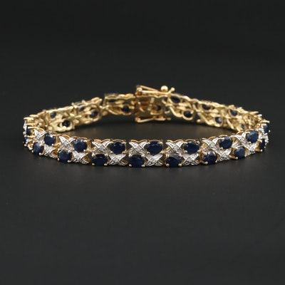 Sterling Silver Sapphire and Diamond Bracelet
