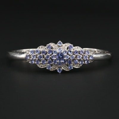 Sterling Silver Tanzanite and Topaz Cuff Bracelet