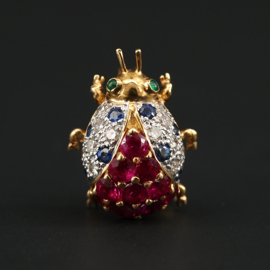 """Le Vian 18K Yellow Gold Diamond and Ruby """"Lady"""" Beetle Brooch"""