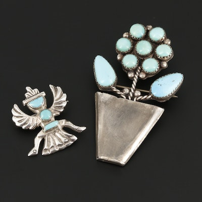 Southwestern Style Sterling Silver Turquoise Brooches