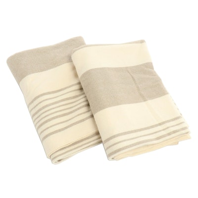 Pair of Pottery Barn Ivory and Taupe Wool Throw Blankets