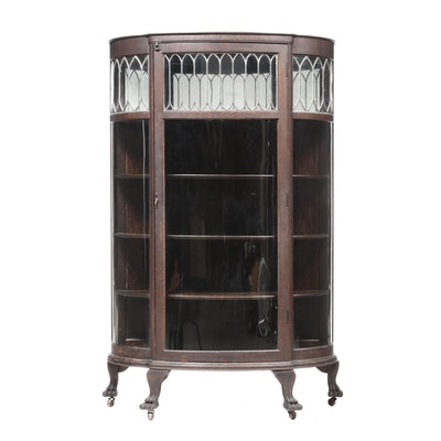 Late Victorian Oak and Leaded Glass Demilune Display Cabinet, Circa 1900