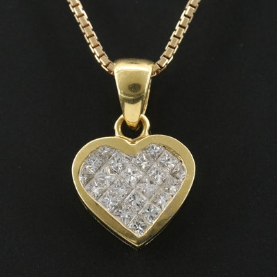 18K Yellow Gold Diamond Pendant on 14K Yellow Gold Necklace