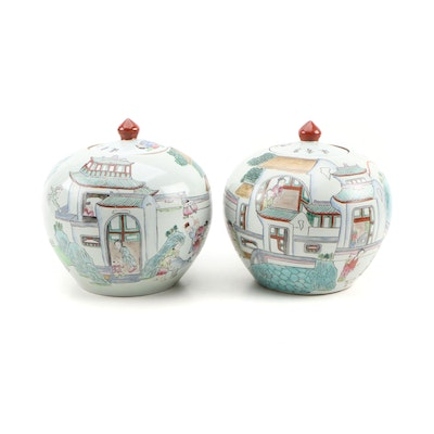 Pair of Chinese Porcelain Melon Jars with Village Scenes, Mid-Century