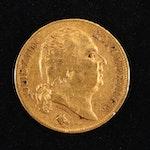 1824-A France 20-Franc Gold Coin