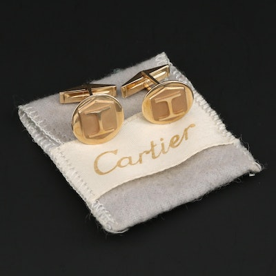"Vintage Cartier 14K Yellow Gold ""H"" Monogram Cufflinks"