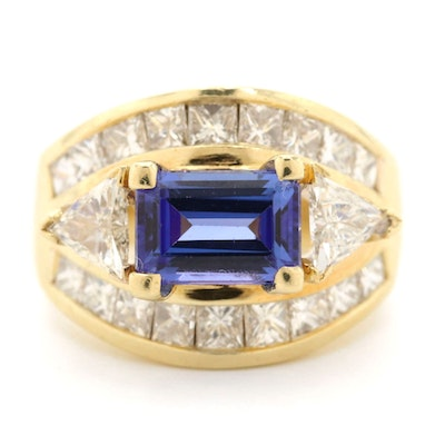 18K Yellow Gold 1.98 CT Tanzanite and 3.08 CTW Diamond Ring
