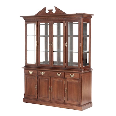 Cresent Cherry Illuminated China Cabinet, Late 20th Century