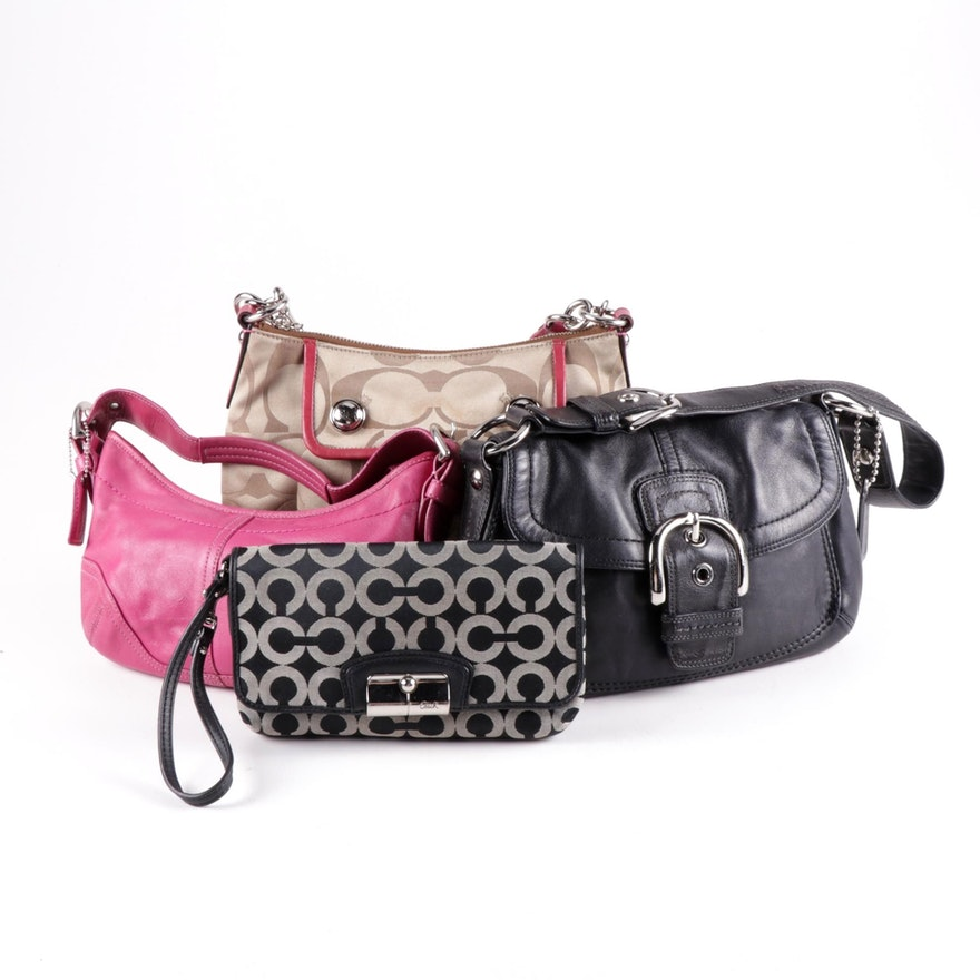 Coach Monogram and Leather Shoulder Bags with Wristlet