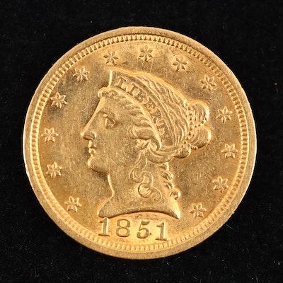 1851 Liberty Head $2.50 Gold Quarter Eagle