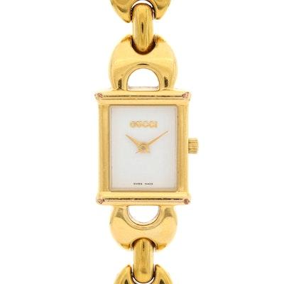 Gucci 1800L Gold Tone Quartz Wristwatch With Interchangeable Straps