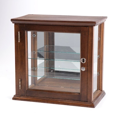 Wood and Glass Curio Display Cabinet, Early to Mid 20th Century