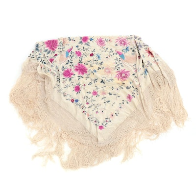 Embroidered Silk Piano Shawl with Chrysanthemum Florals and Macramé Fringe