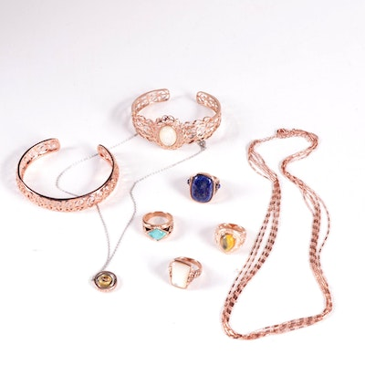 Rose Gold Tone Rings, Bracelet, and Necklaces