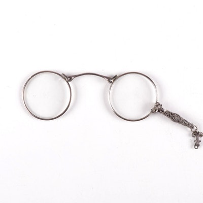 Sterling Silver Frame Filigree Eyeglass Lorgnette, Late 19th Century