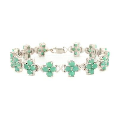 Sterling Silver Emerald Quatrefoil Bracelet