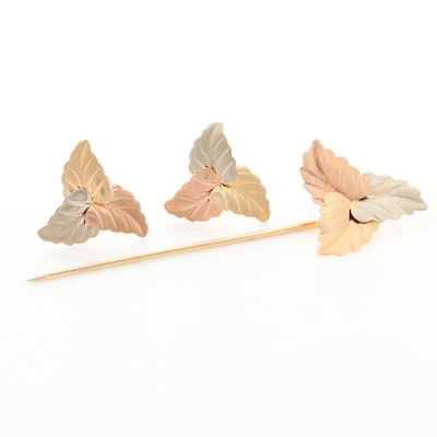14K Yellow, White and Rose Gold Leaf Motif Pin and Earrings