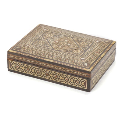 Middle Eastern Inlaid Mother of Pearl and Bone Lidded Wood Box, Vintage
