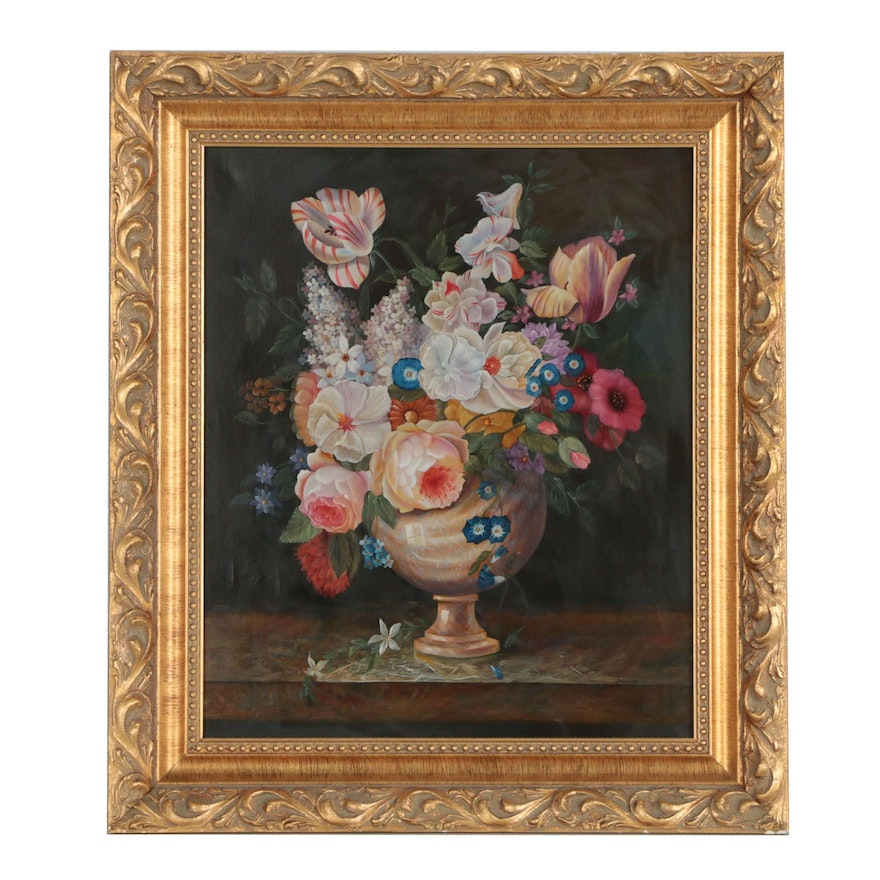 Dutch School Style Floral Still Life Oil Painting
