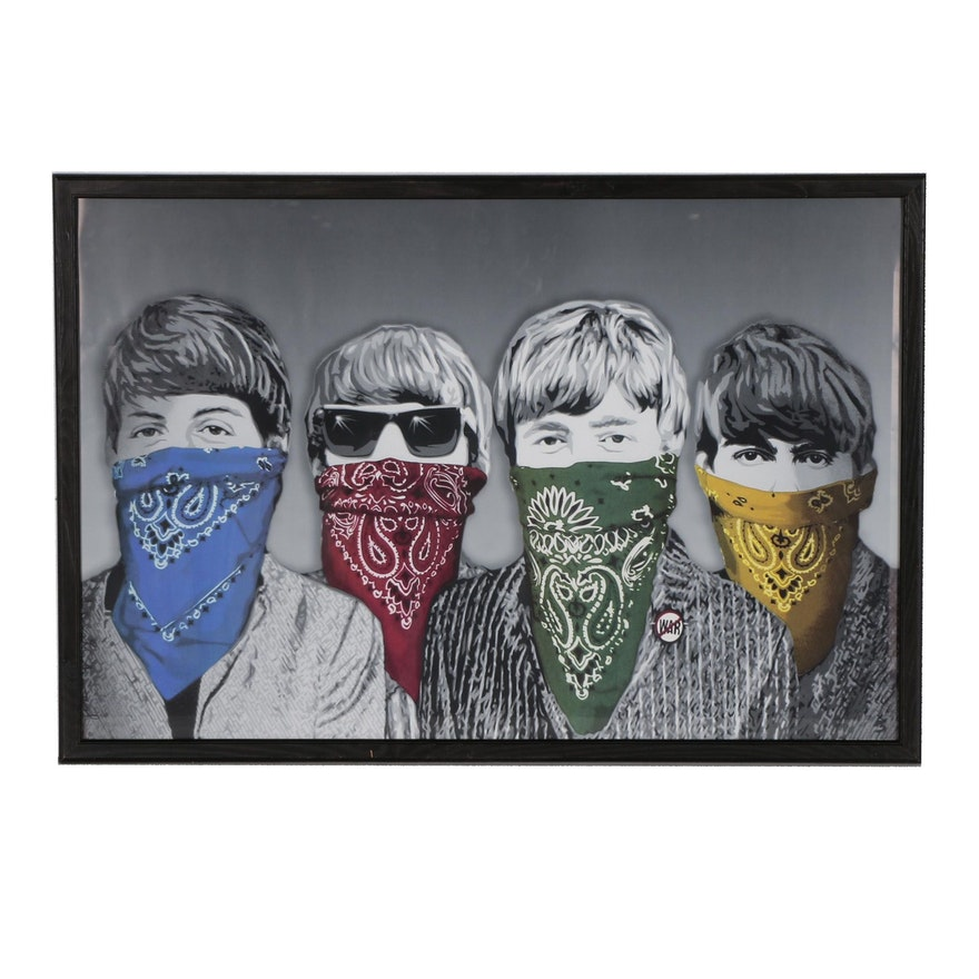 "Offset Lithograph after Mr. Brainwash ""Beatles Bandidos (Gray)"""