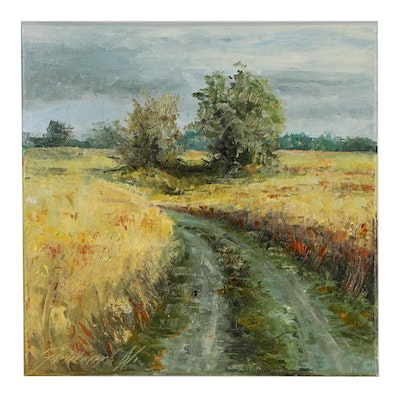 "Garncarek Aleksander Oil Painting ""Road in Grain"""