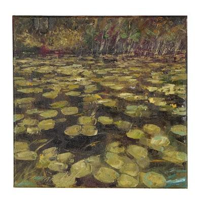 """Garncarek Aleksander Oil Painting """"Waterlilies"""""""