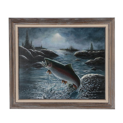 Jack Davis Oil Painting of Trout Fishing