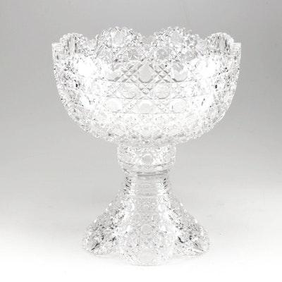 "American Brilliant ""Harvard"" Cut Glass Pedestal Punch Bowl"
