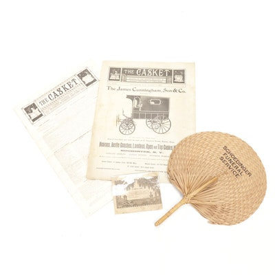 """Undertaker Magazines """"The Casket"""" with Funeral Card and Fan"""