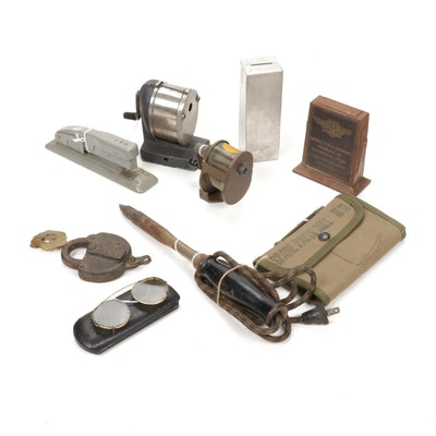 Cast Iron Lock, Train Conductor Badge, Tools, Desk Supplies, and More