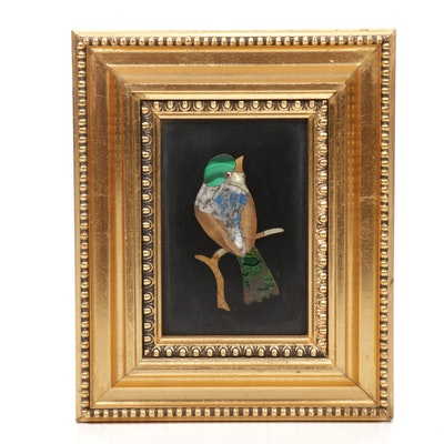 Italian Pietra Dura Stone Mosaic Bird in Frame