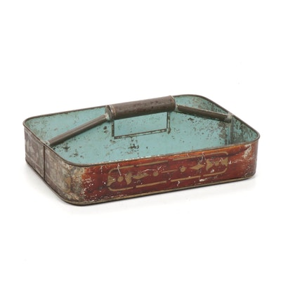 J.A. & Co. Folk Art Tableware Tin Utensil Caddy, Circa 1900-1915