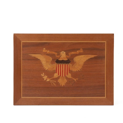Americana Eagle and Shield Marquetry Inlay Plaque