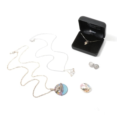 Jewelry Assortment with Sterling Silver Dolphin Necklace and Earrings