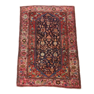 3'4 x 5' Hand-Knotted Persian Sarouk Rug, Vintage