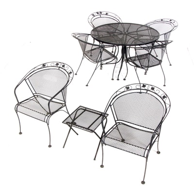 Wrought Metal Patio Dining Set and Accent Table