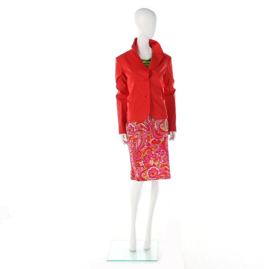 Fendi Red Jacket, Dolce & Gabbana Silk Skirt and Neiman Marcus Striped Shirt
