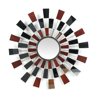 Wingard Mid Century Modern Style Wood and Metal Sunburst Mirror