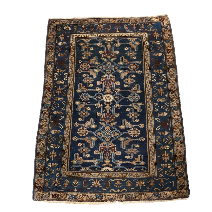 3'6 x 5'1 Hand-Knotted Persian Hamedan Rug