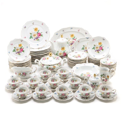 "Mitterteich ""Meissen Floral"" Porcelain Dinnerware and Serving Pieces"
