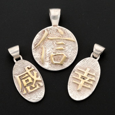 Sterling Silver Good Fortune Pendants