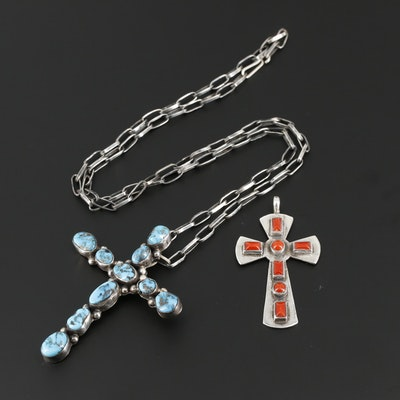 Southwestern Style Sterling Silver Turquoise and Coral Cross Pendants With Chain
