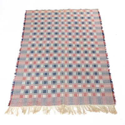 American Handwoven Summer-Winter Geometric Coverlet, Early to Mid-19th Century