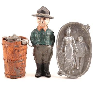 Vintage Cast Iron Ice Cream Freezer, Boy Scout Bank and Naughty Figural Ashtray