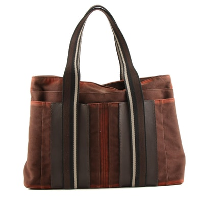 Hermès Troca Tote in Brown Canvas and Leather