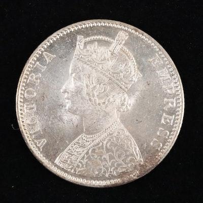 1900-B India 1-Rupee Silver Coin