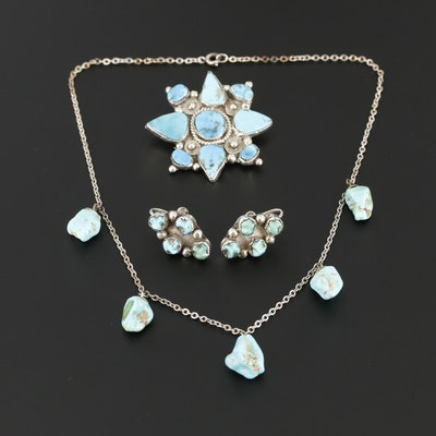 Southwestern Style Sterling Silver and 900 Silver Turquoise and Howlite Jewelry