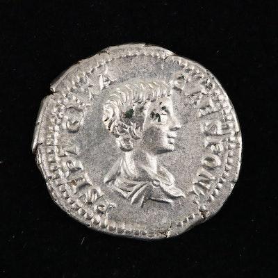 Ancient Roman Imperial AR Denarius Coin of Geta, ca 201 A.D.
