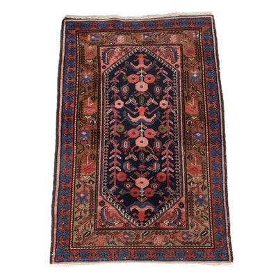 2'7 x 4'1 Hand-Knotted Persian Hamedan Wool Rug, 1920s